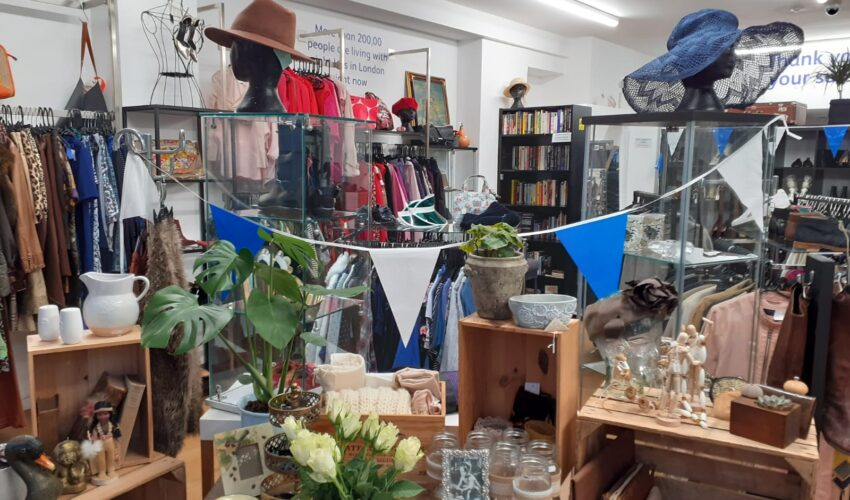 a display of homewares, glasssware, ornaments and flowers inside the Vision Foundation Portobello Road shop