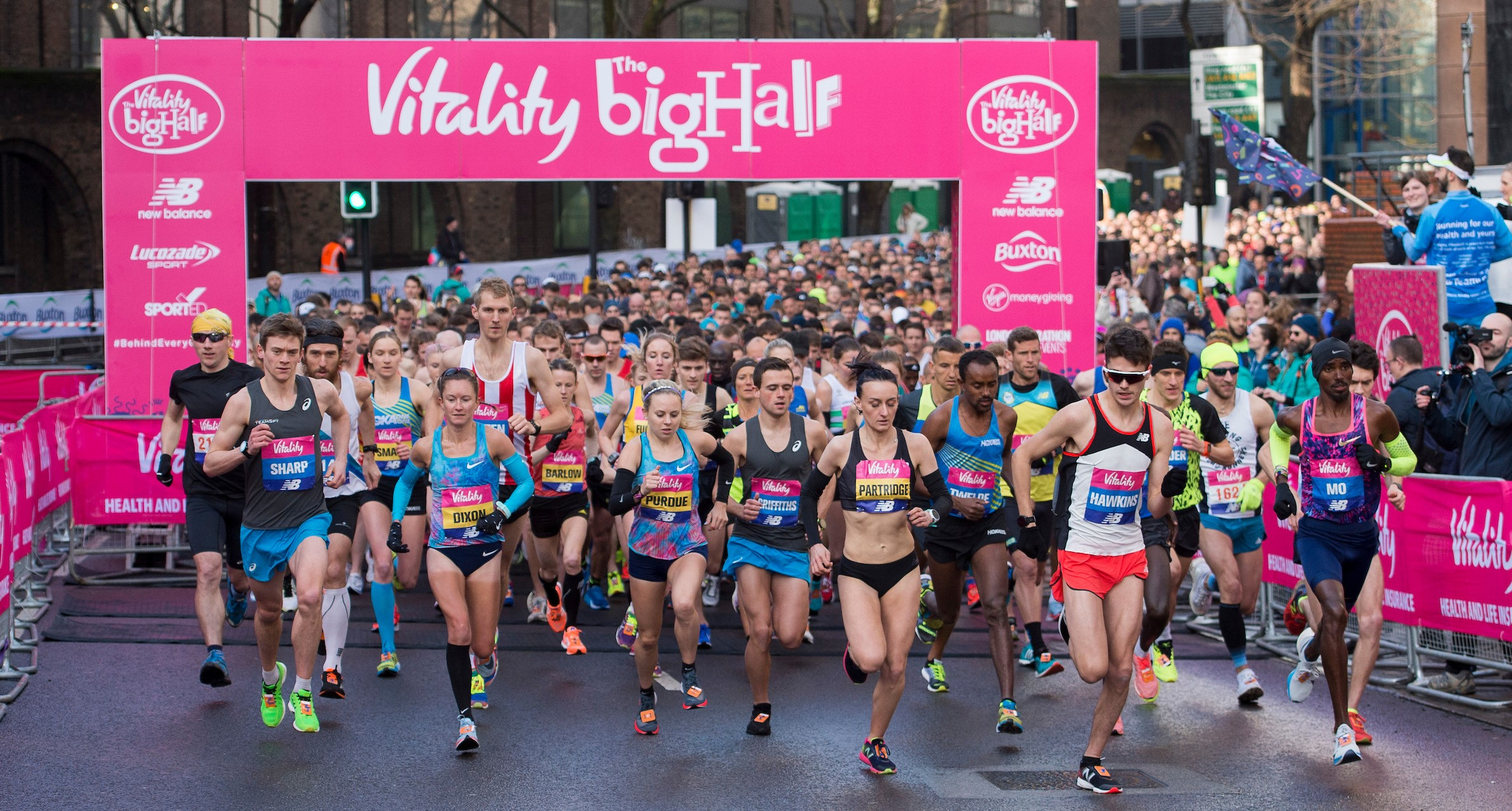 Picture shows runners at the start line of the Vitality Big Half 2019