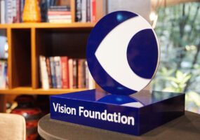 Vision Foundation logo as 3D model on a plinth