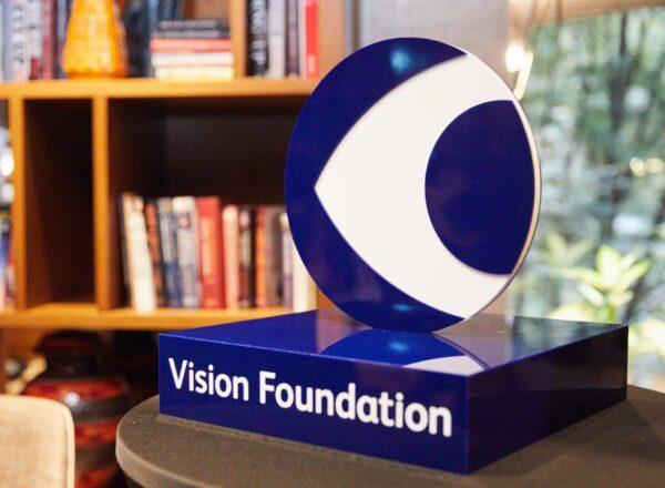 Vision Foundation logo as 3D model on a plinth