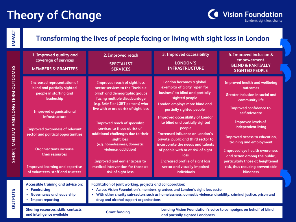 Vision Foundation Theory of Change flow chart diagram