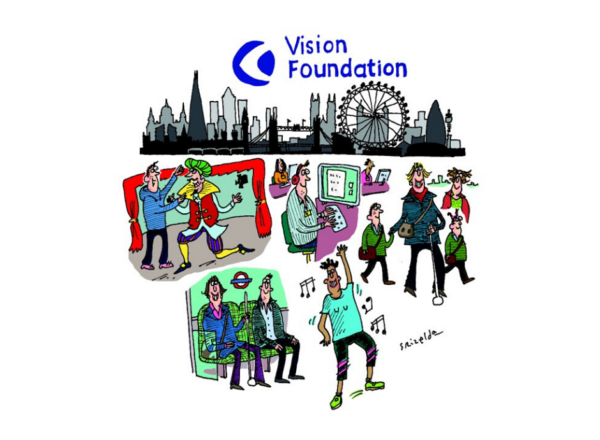 DSC illustration showing blind and partially sighted people in different activities from working to using the tube to performing on stage