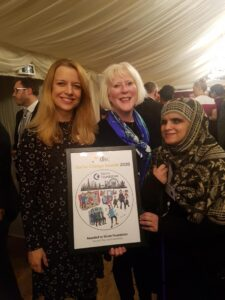 Vision Foundation chief executive Olivia Curno, chair of trustees Anna Tylor and Grants and IMpact officer Khafsa Ghulam beam with pride holding the DSC Great Giving award