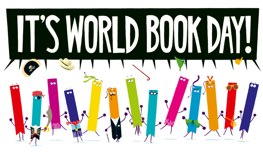 world book day graphic will illustration of clourful bookmark characters f