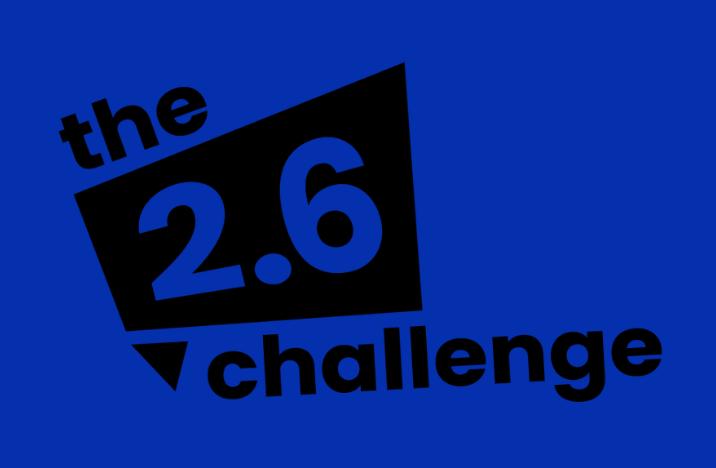 Image shows black challenge 2.6 logo on a blue background