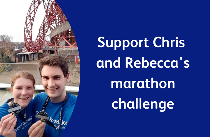 Image reads 'Support Chris and Rebecca's marathon challenge,' and shows a picture of the pair smiling with medals.