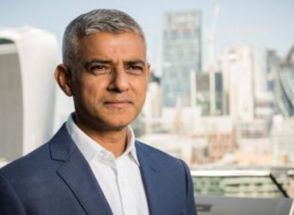 photo of Sadiq Khan with the city of London in teh background