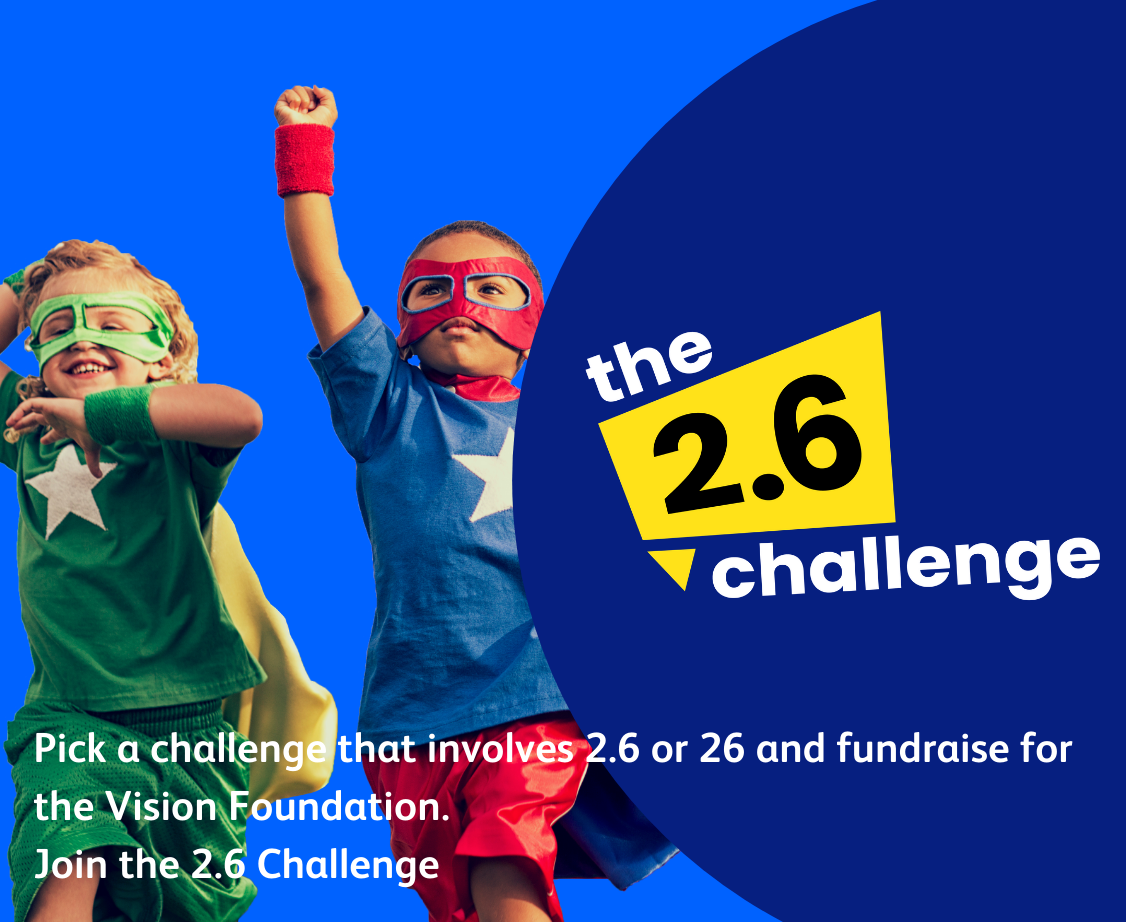 two boys in superhero costumes say join the 2.6 challenge