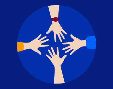 Icon of four hands reaching together