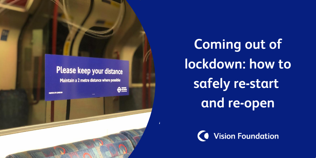 image of a social distancing sign in a tube carriage with caption: coming out of ockdown- how to safely restart and re-open