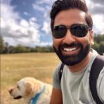 Amit Patel and Kika the guide dog
