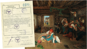 the Waldemuller painting - the Harvest and a certificate from the Third Reich claiming ownership