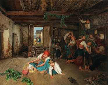 A photo of a painting - Preparing the Celebration of the Wine Harvest, by Ferdinand Georg Waldmüller