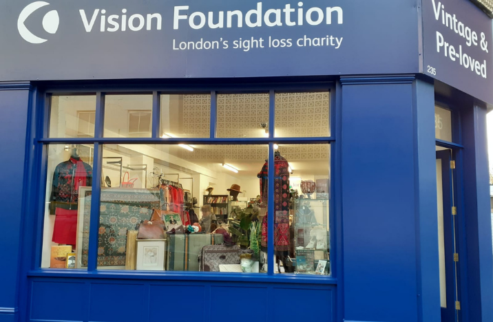Portobello road exterior of Vision Foundation charity shop