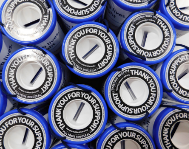 Image shows the top of the Vision Foundation collection boxes, labelled 'thank you for your support.'