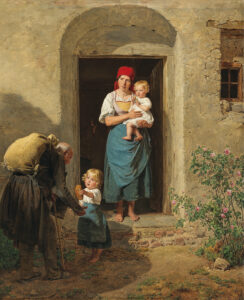 the compassionate beggar painting - an old man begs for money from a woman and her children