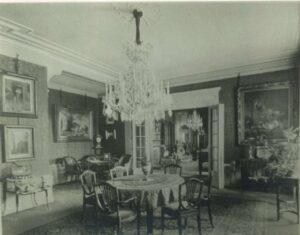 a photo of the interior of the Lowenestein's Vienna apartment with paintings seen hanging on the walls