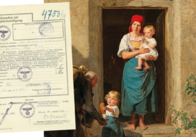the Blinda Beggar painting with a Nazi document staking ownership