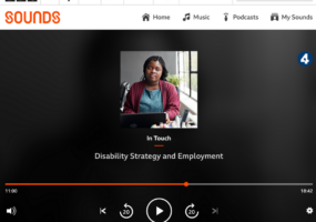 Screenshot of BBC Sounds website showing play screen of the BBC In Touch episode featuring Olivia Curno. The featured image is a young, black woman with a visual impairment, sat at her desk with a tablet.