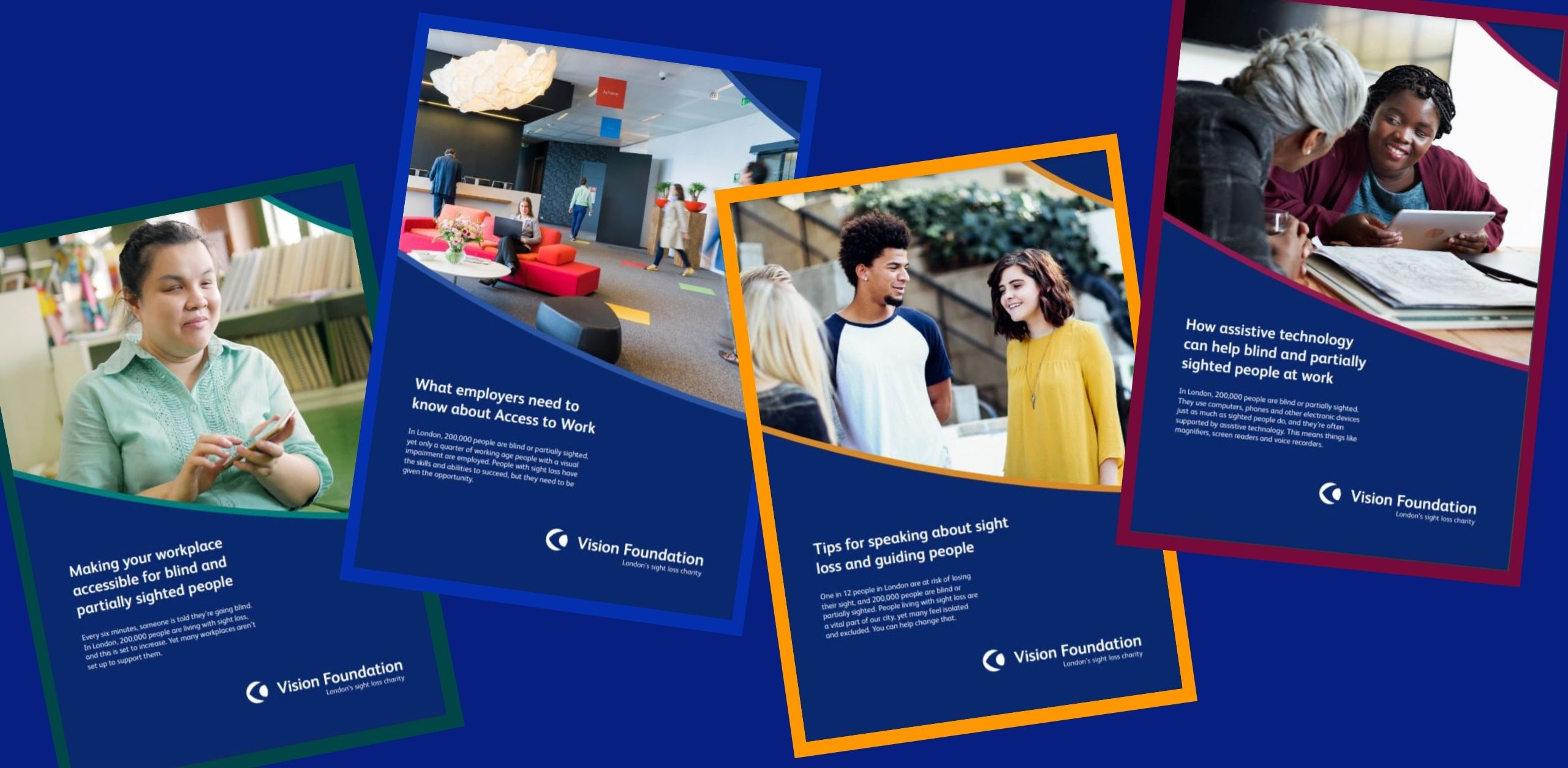 Copies of the Vision Foundation's employer factsheets are arranged on a blue background