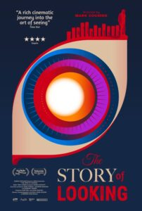 The movie poster for The Story of Looking. A colourful graphic of an eye